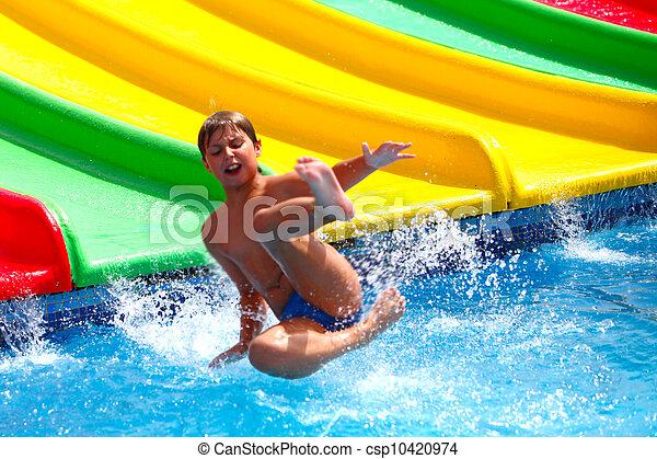 água, criança, aquapark, escorregar - csp10420974
