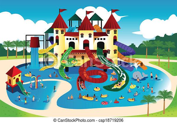 água, ir, parque, pessoas - csp18719206