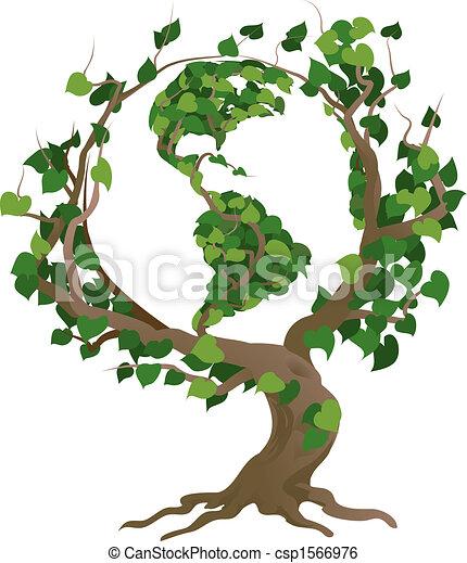 árvore, ilustração, vetorial, mundo, verde - csp1566976