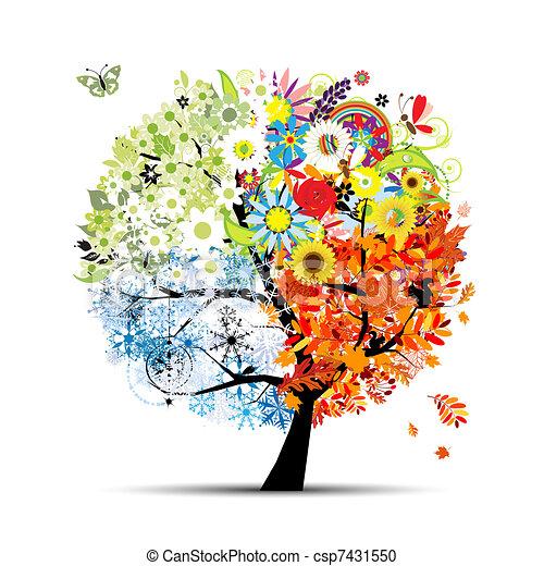 árvore, seu, primavera, winter., estações, -, outono, verão, arte, quatro, desenho, bonito - csp7431550