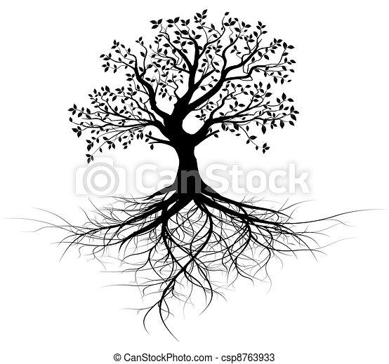 árvore, vetorial, inteiro, raizes, pretas - csp8763933