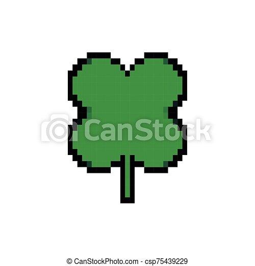 ícone, estilo, pixelated, folha, bits, trevo, 8 - csp75439229