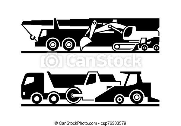ícone, estrada, maquinaria, jogo construção - csp76303579