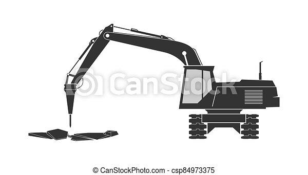 ícone, localizado, escavador - csp84973375