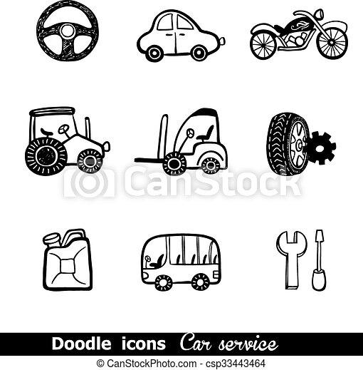 ícones, doodles, carros - csp33443464