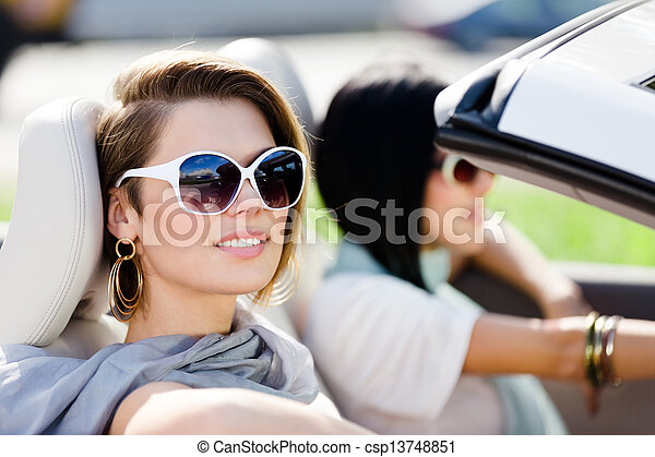 óculos de sol, car, meninas, cima fim, conversível - csp13748851