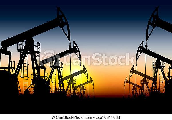 óleo, silueta, bombas - csp10311883