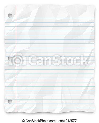 -, escrita, papel, perfurado, estudante, three-hole, alinhado - csp1942577