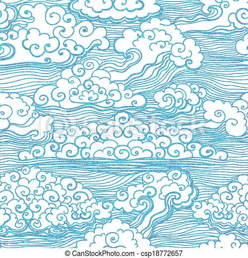 10, padrão, seamless, clouds., vetorial, eps - csp18772657