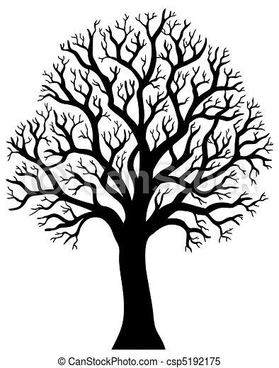 2, árvore, sem, silueta, folha - csp5192175