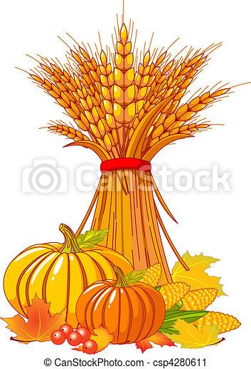 ação graças, colheita, fundo, / - csp4280611