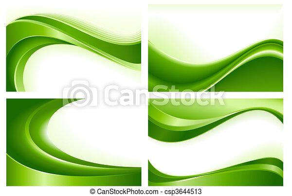 abstrato verde, fundos, 4, onda - csp3644513