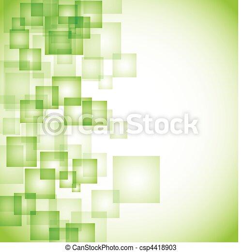 abstratos, fundo, verde, quadrado - csp4418903