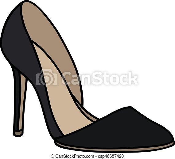 agulha, sapato preto, calcanhar - csp48687420
