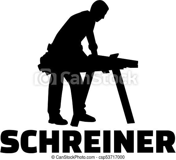 alemão, cabinetmaker, trabalho, silueta, título - csp53717000