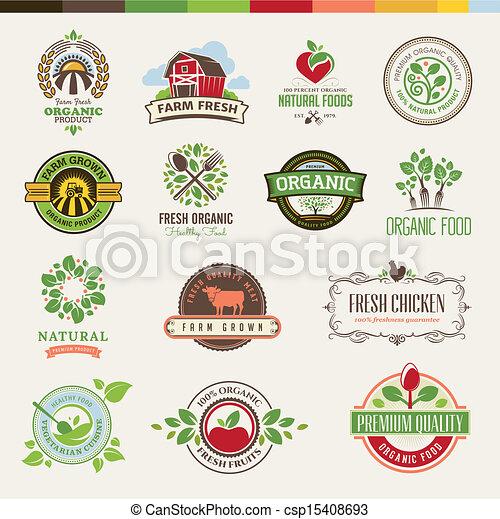 alimento, jogo, orgânica, emblemas - csp15408693