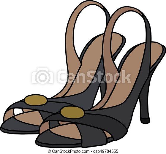 alto, pretas, sapatos, calcanhar - csp49784555