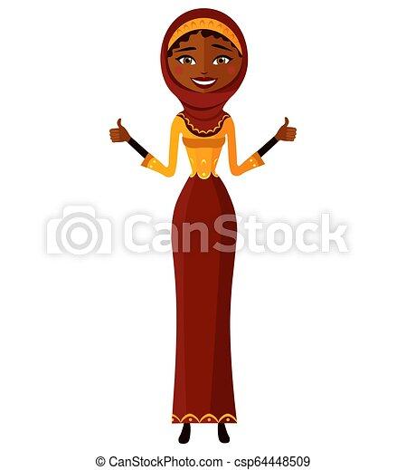 ambos, mulher, irã, negócio, jovem, cima, árabe, polegares, fazer, sorrindo, sinal, hands. - csp64448509