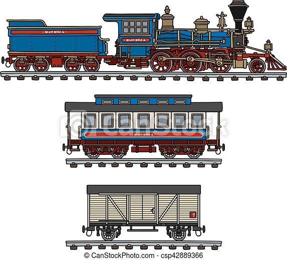americano, trem, antigas, vapor - csp42889366
