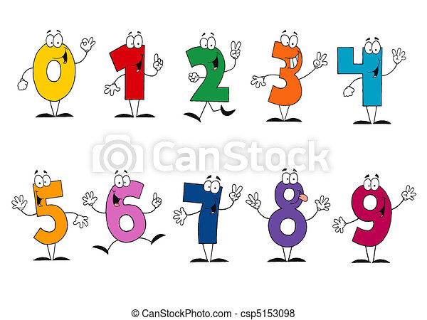amigável, caricatura, números, jogo - csp5153098