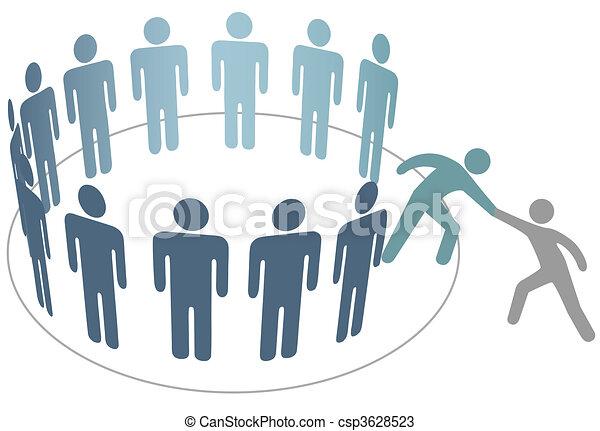 amigo, pessoas, juntar, ajudas, membros, grupo, companhia, ajudante - csp3628523