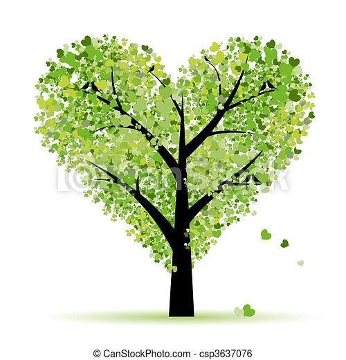 amor, folha, árvore, corações, valentine - csp3637076