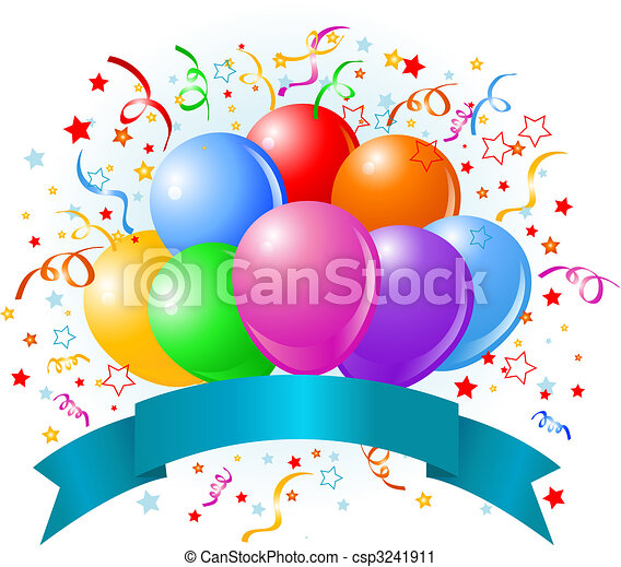 aniversário, balões, desenho - csp3241911