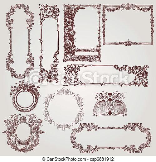 antigüidade, bordas, vitoriano - csp6881912