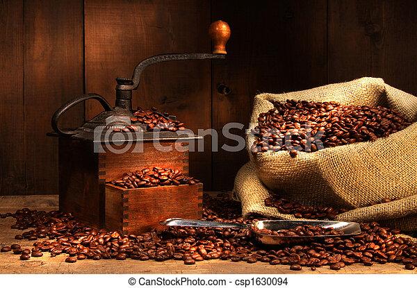 antigüidade, feijões, moedor café - csp1630094