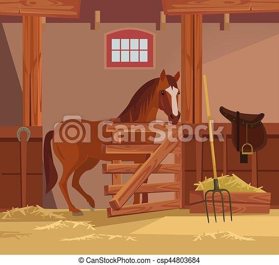 apartamento, cavalo, ilustração, farm., vetorial, caricatura - csp44803684