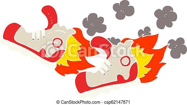 apartamento, cor, rapidamente, sneakers, ilustração, super, caricatura - csp62147871