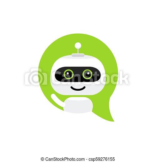 apartamento, estilo, serviço, bot, chatbot, personagem, robô, sinal, conversa, icon., concept., apoio - csp59276155