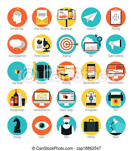 apartamento, jogo, ícones, marketing, desenho, serviços - csp18862547