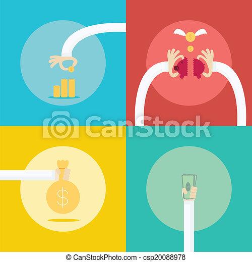 apartamento, jogo, illustration., negócio, lucro, dinheiro, concept., cobrança, 4, renda, design. - csp20088978