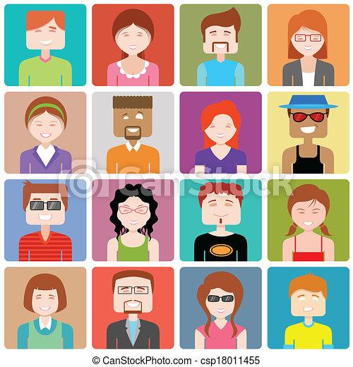 apartamento, pessoas, desenho, ícone - csp18011455