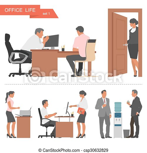 apartamento, workers., escritório, pessoas negócio, isolado, ilustração, experiência., vetorial, desenho, branca - csp30632829