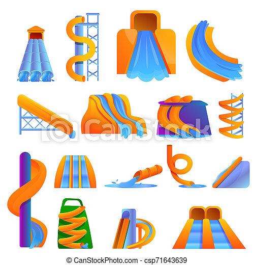 aquapark, jogo, estilo, caricatura, ícones - csp71643639