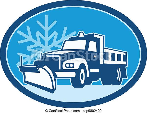 arado, caminhão, neve, retro - csp9802409