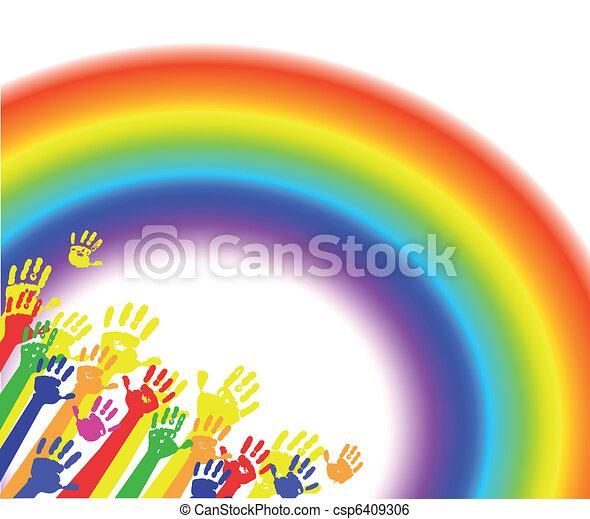 arco íris, cor mãos, palmas - csp6409306