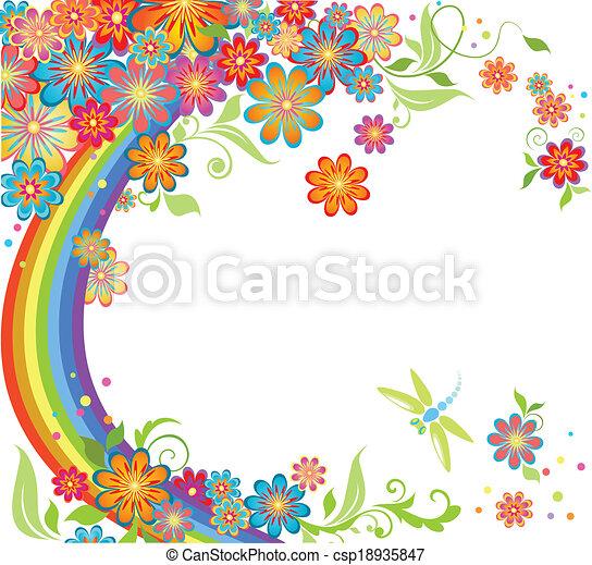 arco íris, flores - csp18935847
