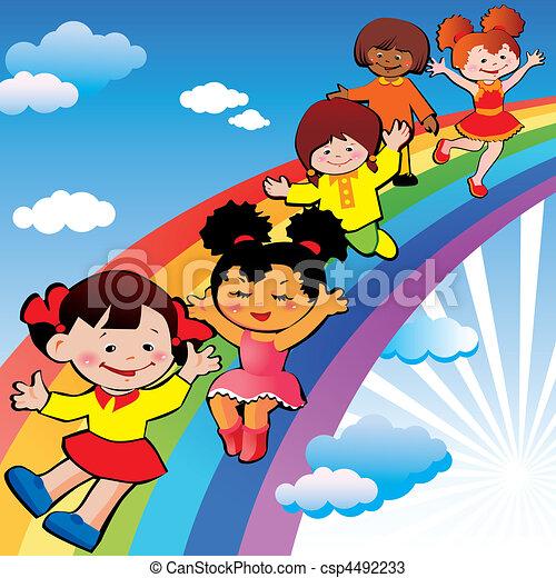 arco íris, slide., crianças - csp4492233