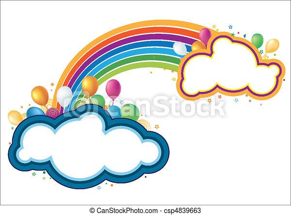 arco íris, vetorial, balões - csp4839663