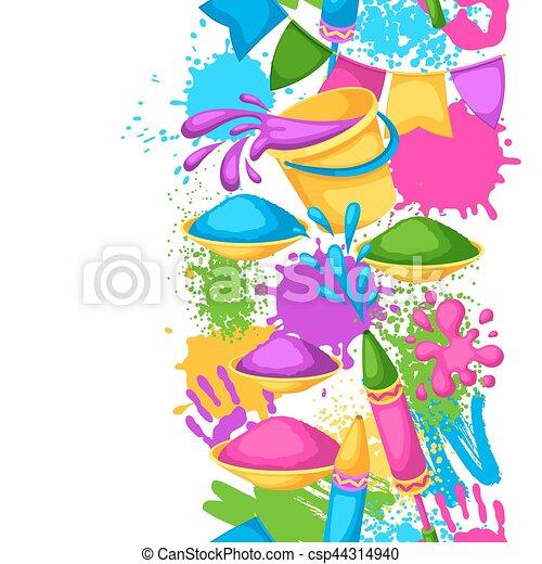 armas, blots, holi, coloridos, border., manchas, baldes, seamless, ilustração, água, pintura, bandeiras, feliz - csp44314940