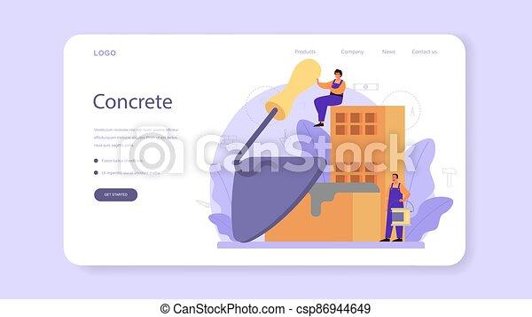 aterragem, construtor, finisher, page., profissional, bandeira, teia, ou, concreto - csp86944649