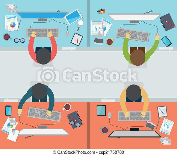 atividade, escritório, apartamento, styl, trabalhador - csp21758780
