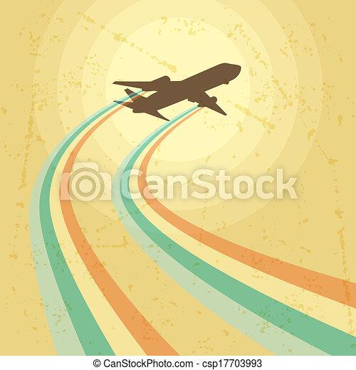 avião, voando, ilustração, sky. - csp17703993