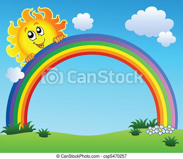 azul, arco íris, céu, segurando, sol - csp5470257