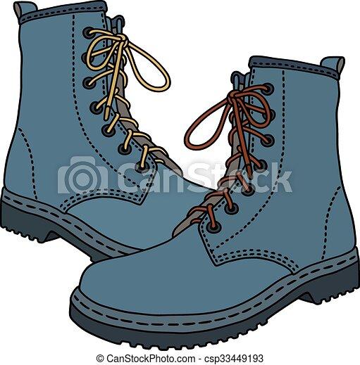 azul, engraçado, botas - csp33449193