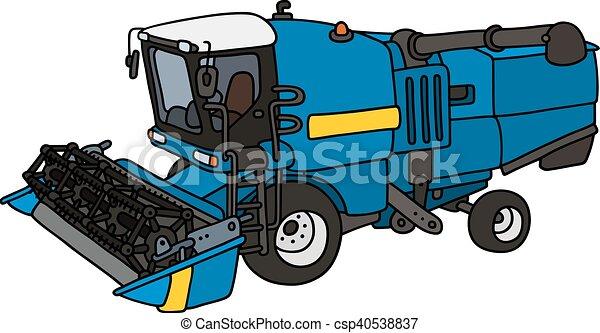 azul, engraçado, harvester - csp40538837