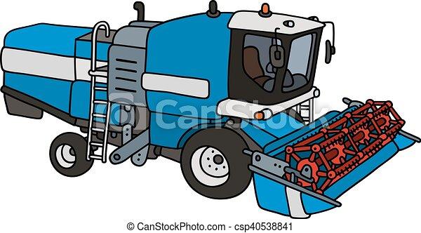 azul, engraçado, harvester - csp40538841